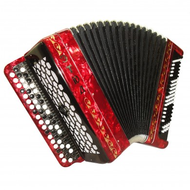Brand New Tulskiy Bayan Russian Buton Accordion Etude 205M2 made in Tula, Russia, incl. Straps, Case, BN 40 Red, Perfect and High Quality Sound!