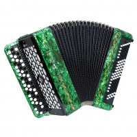 Brand New Etude 205M2, made in Tula, Russia, 3 Rows, 100 Bass Bayan, Button Accordion BN-40 Green, incl. Straps, Case, Excellent Sound!