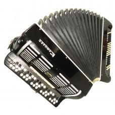 Bayan Concert, Double Cassotto, Russian Button Accordion, New Straps, Case, 1076, Great Chromatic Accordian For Sale