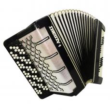 5 Row Button Accordion Atlant 120 Bass Russian Bayan B System 1033, New Straps, Great sound