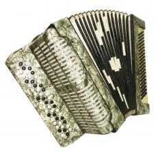 3 Row Weltmeister, Vintage German Button Chromatic Accordion Bayan 100 Bass 1100, Very Beautiful and Bright sound.