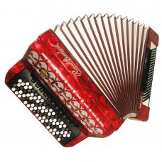 5 Row Royal Standard Romance, 120 Bass, Great German Button Accordion Bayan 1103, Super sound, incl. Case and New Straps