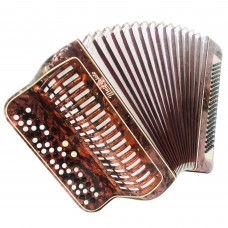 3 Row Weltmeister Vintage German Button Accordion Bayan 100 Bass New Straps 1359, Very Beautiful and Bright sound.