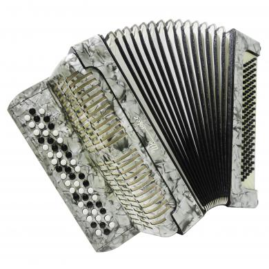 3 Row Weltmeister, Vintage German Button Chromatic Accordion, Bayan, Case, 1279, Very Beautiful and Bright sound.