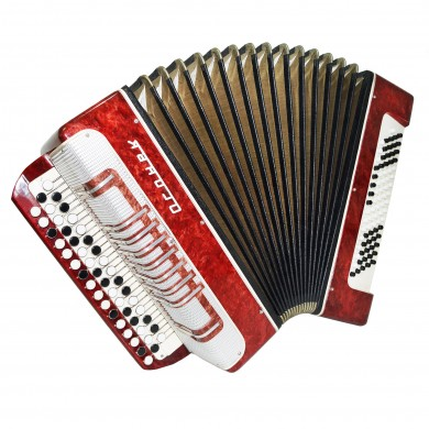 Close to NEW Russian Bayan, Light Weight Button Accordion for Beginner Kids 1344, 80 Bass, incl Case, B System, Beautiful sound.