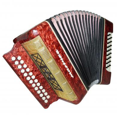 Folk Garmon Marichka, Button Accordion Harmonica, 25x25, made in Ukraine, 1261, Squeezebox, Very Nice and Bright sound!