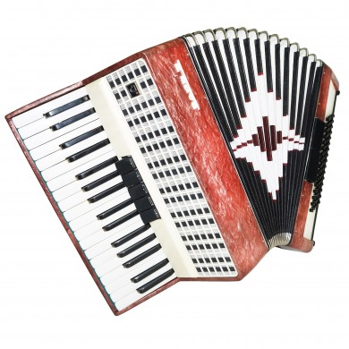 Close to NEW! Folk Russian Piano Accordion Zarya 2 80 Bass, Excellent sound 1347, Perfect Keyboard Accordian.