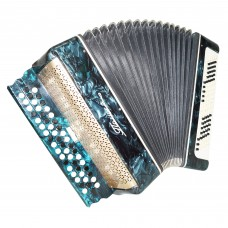 Folk Ukrainian Bayan Polissya, 100 Bass, Chromatic Button Accordion, Case, 1334, B System, Very Nice Sound!