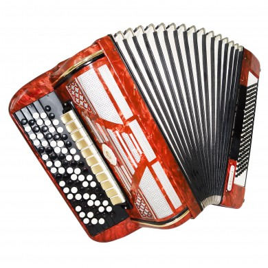 Firotti Eroica, 5 Row 120 Bass German Button Accordion Bayan, New Straps 1458, Concert Chromatic Accordian, Super sound.