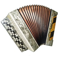 Bayan Kreminne, Folk Ukrainian Button Accordion, 3 Row 120 Bass, incl. Case 1338, Bright and Quality sound.