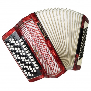 5 Row Barcarole Professional Concert Button Accordion made in Germany Bayan 1324, incl Case & New Straps Full Size, 120 Bass, 14 Registers, Powerfull sound!