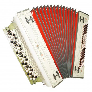 Handmade Russian Bayan, Amazing Folk Button Accordion 110 Bass, Super Sound 1330, Great Rare Vintage musical instrument. New Straps.