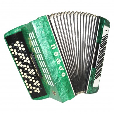 5 Row Button Accordion Orfey, 120 Bass, Concert Russian Bayan, New Straps, 1421, B System, Beautiful and Powerful sound.