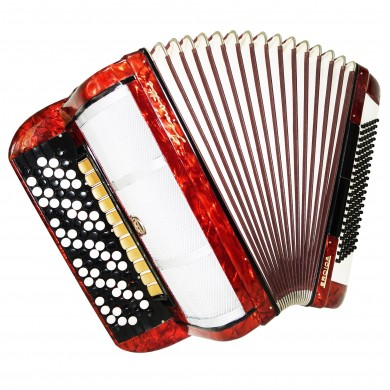 5 Row Firotti Eroica, 120 Bass German Button Accordion, Bayan, New Straps, 1400, Concert Chromatic Accordian, Super sound.