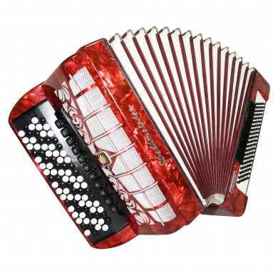 5 Row Weltmeister Grandina, German Concert Button Accordion Bayan 120 Bass, 1427, New Straps, Very Beautiful and Powerful sound.
