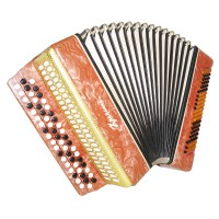 Almost Unused! Bayan Kreminne, Ukrainian Button Accordion, Case, New Straps 1451, Bright and Powerful sound.