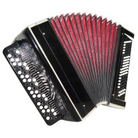 Vintage Bayan Tulskiy, made in Tula Russia Button Accordion New Straps Case 1453, Very Beautiful and Powerful sound.