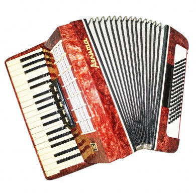Almost Unused! Russian Piano Accordion Aelita 96 Bass, incl New Straps Case 1476, Very Beautiful Keyboard Accordian! Excellent sound!
