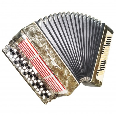 Ukrainian Bayan Polissya 100 Bass Chromatic Button Accordion, Case, Straps 1482, B System, Very Nice Sound!