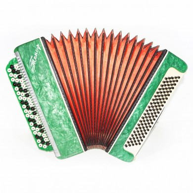Close to New! Button Accordion Bayan Tenor, made in Russia, Original Straps 1489, 100 Bass, Classic Folk Musical Instrument, Excellent sound!