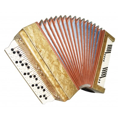 Vintage Russian Bayan Original Folk Chromatic Button Accordion New Straps 1508, Very Beautiful and Very Powerful sound.