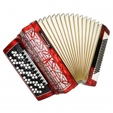 5 Row Barcarole Professional Concert Button Accordion made in Germany Bayan 1550, incl New Straps, Full Size, 120 Bass, 14 Registers, Bright and Powerfull sound!