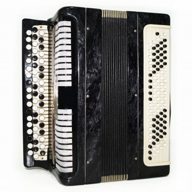 Folk Bayan Etude, made in Tula, Russian Chromatic Button Accordion 100 bass 1554, Very Beautiful and Powerful Sound!