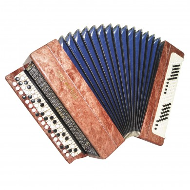 Folk Bayan Tula 202, made in Russia, Chromatic Button Accordion, New Straps 1555, Bright and Quality sound!