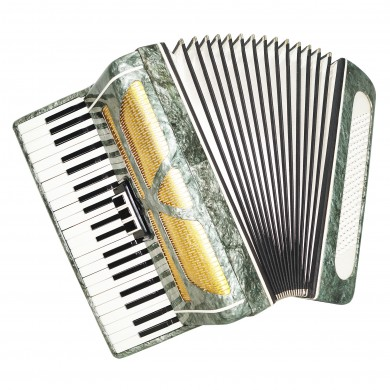 Russian Full Size Piano Accordion Almaz, 120 Bass, Stradella, New Straps, 1563, Bright and Powerful Sound.