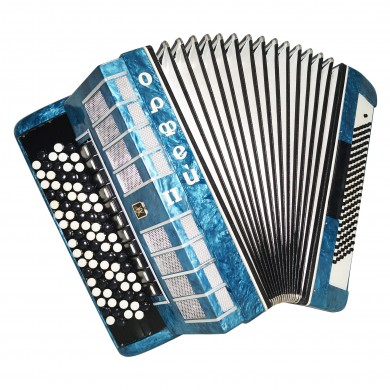 5 Row Button Accordion Orfey II, 120 Bass Concert Russian Bayan, New Straps 1564, B System, Beautiful and Powerful sound.