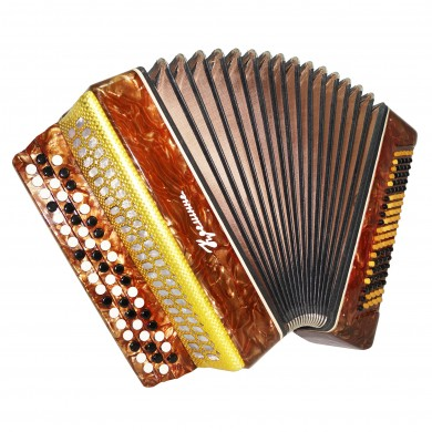 Folk Ukrainian Button Accordion, Bayan Kreminne, 100 Bass, New Straps, Case 1571, B System, Very Beautiful sound.
