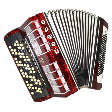 5 Row Button Accordion Orfey II, 120 Bass Concert Russian Bayan, New Straps 1574, B System, Beautiful and Powerful sound.