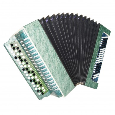 Folk Russian Bayan, 100 Bass Chromatic Button Accordion, New Straps, Case, 1575, Very Beautiful sound!