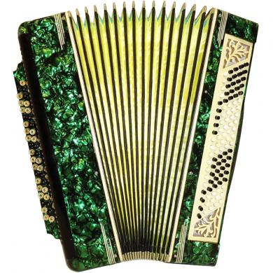Handmade Copper Russian Button Accordion Bayan, 100 Bass, 25