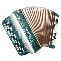 Bayan Ukraine, 3 Rows Folk Button Accordion 100 Bass, B System, New Straps, 1611 Very Beautiful sound.