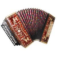Vintage Harmonica made in Russia Любительская Garmon Button Accordion 25х25 1624, New Straps, Amazing Sound!