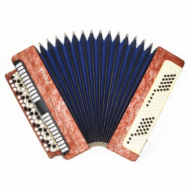 Folk Bayan Etude made in Tula Russia Chromatic Button Accordion Straps Case 1627, Very Beautiful Sound!