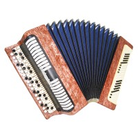 Folk Bayan Etude made in Tula Russia Chromatic Button Accordion Straps Case 1627, Very Beautiful Sound!