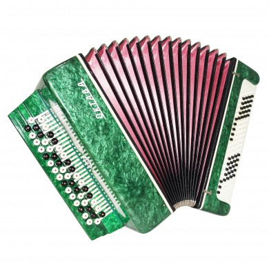 Almost Unused! 3 Row Lightweight Bayan Octava Russian Button Accordion 1644, 100 Bass Straps Case, Bright and Quality sound!