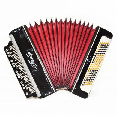 Folk Bayan Tembr, 100 Bass, Russian Chromatic Button Accordion, New Straps, 1639, Stradella, B System, Excellent sound!