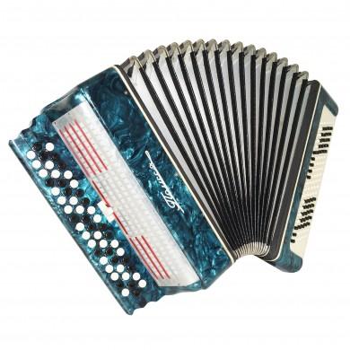 Bayan Polissya, made in Ukraine, 100 Bass Button Accordion, New Straps Case 1648, B System, Very Nice Sound!