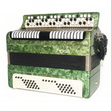 Folk Bayan Etude made in Tula Russia Chromatic Button Accordion Straps Case 1660, Very Beautiful Sound!