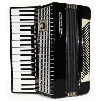 Weltmeister Stella, 120 Bass, made in Germany Accordion, New Straps, Case 1650, Perfect Quality Sound! Full Size Black Accordian!