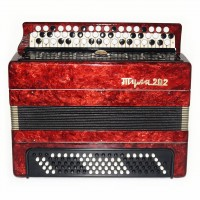 Close to New! Bayan Tula 202 Russian Chromatic Button Accordion Straps Case 1654, Very Bright and Quality sound!