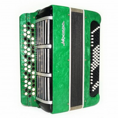 3 Row Bayan Moscow made in Russia 100 Bass Classic Folk Button Accordion 1656, New Straps, Rich and Beautiful Sound!