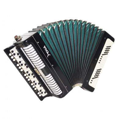 Folk Russian Bayan Etude made in Tula Chromatic Button Accordion incl. Case 1692, Bright and Beautiful Sound!