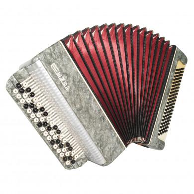Bayan Tembr, 3 Rows Russian Chromatic Button Accordion, incl Straps, Case 1676, Stradella, B System, Excellent sound!