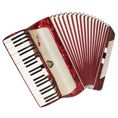 Original Piano Accordion Solo, made in Germany, 120 Bass, New Straps Case 1673, Rich and Bright Sound!