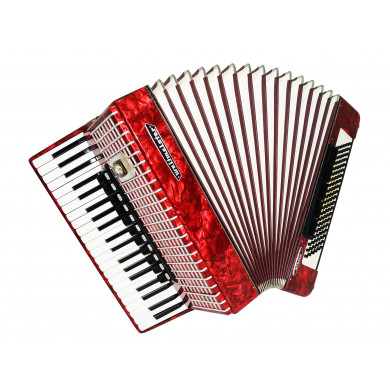Weltmeister Stella, 120 Bass, made in Germany Accordion, New Straps, Case 1677, Perfect Quality Sound! Full Size Red Accordian!