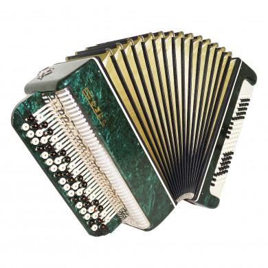 Bayan Tembr, 100 Bass Russian Chromatic Button Accordion, New Straps, Case 1709, Stradella, B System, Excellent sound!